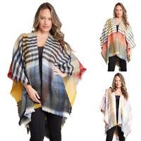 ScarvesMe Women's Colorful Striped Warm Knit Kimono Ruana Shawl Cardigan Capes