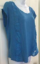 Lauren Conrad Womens Blue Linen Knit Top SZ M Floral Lace Stretchy Cap Sleeve