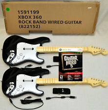 2 NEW Wired Fender Stratocaster Guitar & GUITAR HERO 5 xBox 360 Video Game Set