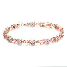 Fashion Woman Exquisite Pink Round Zircon Rose Gold Bracelet Jewelry Gift