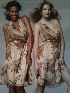 Neuf Ralph Lauren Black Label Mousseline Soie Gilda Robe Marron Beige Chameau 6