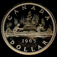 1965 Uncirc $1 Canada Silver Dollar .800 Silver• PL Type 1 •Small Bead Pointed 5
