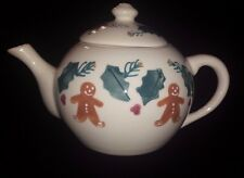 Hartstone Gingerbread Man Teapot with Holly Vintage Made in USA Ohio Pottery