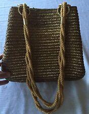 Vintage Worthington Wicker Straw Purse Gold Metallic Trim Tote Shoulder Hobo