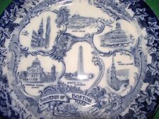 Victorian 19C Staffordshire Boston Mass Flow Blue Plate