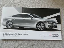 2012 Audi A7 Sportback Quick Reference Guide Owners Manual SUPPLEMENT