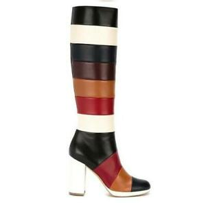 Womens Punk Multi-Color Round Toe Block Heels Retro Knee High Boots Party Shoes