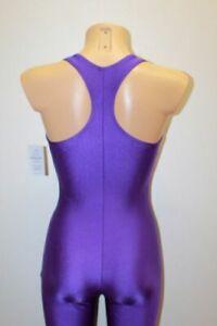 Bilelika 302-00 Purple Spandex Women Long Sleeveless Catsuit Size L