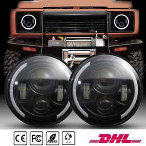 2x 7 Zoll Runde LED Scheinwerfer Halo Angle Eyes für SUV ATV UTV