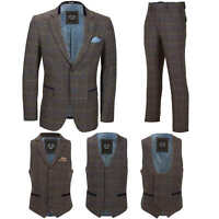 Mens 3 Piece Tweed Check Suit Ash Brown Separately Sold Blazer Waistcoat Trouser