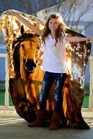 "Horse Blanket Fleece Throw - 63""x73"" Premium Upgrade - Direct From Manufacturer"