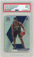 Zion Williamson Pelicans 2019 Mosaic Silver Prizm Rookie Card RC #209 PSA 9 MINT