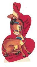 Vtg Die Cut Valentine Donkey Don'T Be Balky I'M Not Sulky Usa 1950'S