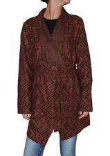 BB Dakota Women's Plus Size Cain Jacquard Wrap Jacket Coat (Red, 1X)