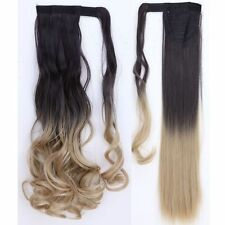 100% Real Ombre Clip In As Human Hair Extensions Pony Tail Wrap On Ponytail Long