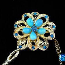 *Princess rhinestone flowers golden metal step more hair blue fring Hair Stick