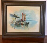 OIL PAINTING SIGNED by ROSS nice wood frame of a dock and sailboats