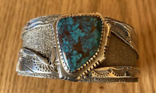 Signed Navajo Sterling Silver Bisbee Turquoise Cuff Bracelet