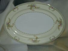 Meito China Cream & Floral Pattern Hand Painted Japan Small Oval Serving Platter
