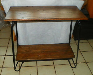 Solid Oak & Black Iron Entry Table / Sofa Table  (T318)