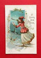 Prägedruck Litho Glückwunsch AK NEUJAHR 1912 Frau auf Schneeschuhen  ( 56286