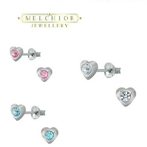 Childrens Girls Sterling Silver Tiny HEART stud Pink Blue Clear Earrings Boxed