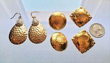Pair Post Women's Costume Jewelry Crystal Vintage 1980's Gold Pierced Earrings 3
