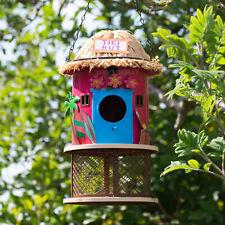Tiki Hut Hanging Metal Bird Feeder Nesting Box House Garden Decoration Art Gift