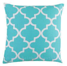 Blue Linen Geometric Design 18 inch Cushion Cover Tess