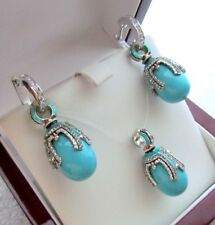 TURQUOISE EARRINGS & PENDANT SET HANDMADE RUSSIAN SOLID STERLING SILVER 925