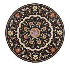"""36"""" x 36"""" Marble Round Coffee Table Top Semi Precious Stone Inlay Marquetry Work"""