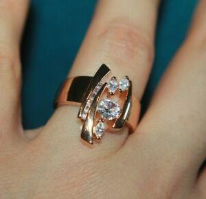 modern gemstone rose gold filled Cz ring jewelry engagement wedding cocktail