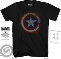 Captain America Mens Black Marvel Short Sleeve Graphic Tee Shirt New