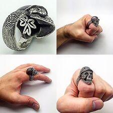 Skull Head Silver Ring, Bikers Rock Heavy Metal Death SOA Chopper