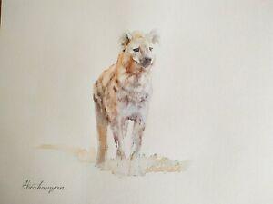 Hyena, Animal, Watercolor artwork, Handmade, Original painting on paper