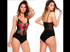 Women Backless Party Top Strap Bodysuit 1 Piece Bikini Beach Spa Leotard Plunge UK 12 No.7-embroidery Crochet Knit Emily Blogger Basic Stretchy Fabric