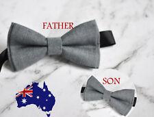 Father Son Match 100% Cotton Handmade Mottled  GREY GRAY Bow Tie Bowtie Wedding