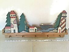 Vintage Wooden 5 Hook Coat Rack with Scene of Lighthouses, Mooring Posts & Hull