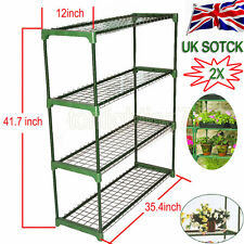 2x Greenhouse 4 Tier Staging Shed Garage Storage Steel Shelving Shelves Racking