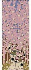 Maneki Neko Tenugui Tapestry Cotton 100% Printed Made in Japan  SAKURA NAMIKI