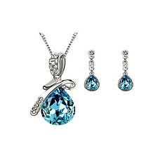Caratcube Blue Water Drop Style Austrian Crystal Pendant Set With Earrings