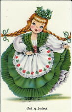 BA-388 Doll of Ireland, Girl in Long Dress, 1950's to 1960's Chrome Postcard