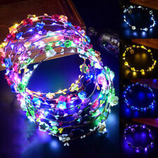 Women Wedding Party Flower Headband LED Light Up Hair Wreath Hairband Garlands