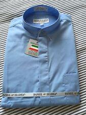 Button Cuff Long Formal Shirts Grandad Collar for Men