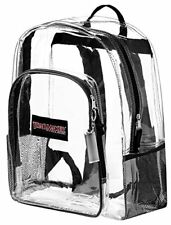 "Clear School Backpack Padded Straps & ""Bonus LED Flashlight"" Black"
