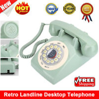 Retro Desktop Corded Telephone Vintage Phone Landline Home Office Hotel Green