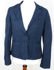 Light Brand Womens M Blazer Eyelet Blue Jacket Career Cotton Boutique Navy