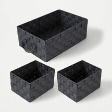 3 Webb Rectangle Natural Storage Baskets For Laundry Home Office Kids Room - F1