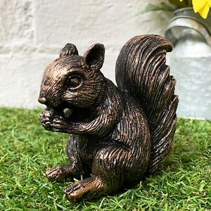 Miniature Home Garden Decor Ornament Animal Figurine Bronze Effect Squirrel Gift