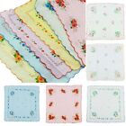Women Child 12Pcs Lot 100% Cotton Flower Fashion Handkerchiefs Quadrate Hankies